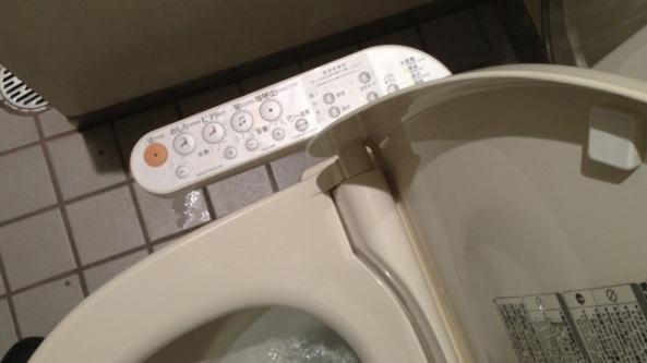 Typisk japansk toalett. Tekiken spelar en framträdande roll också här. Av faciliteterna uppskattade jag endast den uppvärmda sitsen.