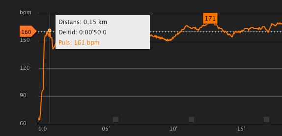 Pulsen stiger obegripligt brant vid liten belastning. Efter 150 m sakta jogging är den redan över 160!