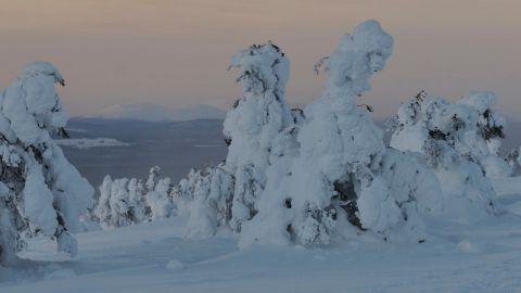 Vintervy från Levi den 29 november 2013. Pallas skymtar i bakgrunden.
