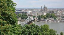 Kedjebron mellan Buda och Pest. Sankt Stefansbasilikan dominerar stadsbilden på Pest-sidan.